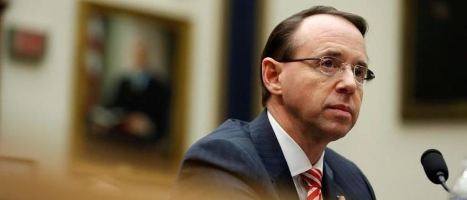 FILE PHOTO - Deputy U.S. Attorney General Rod Rosenstein testifies to the House Judiciary Committee hearing on oversight of the Justice Department on Capitol Hill in Washington, U.S., December 13, 2017. REUTERS/Joshua Roberts | DOJ Gives House Intel Crucial Russia Info