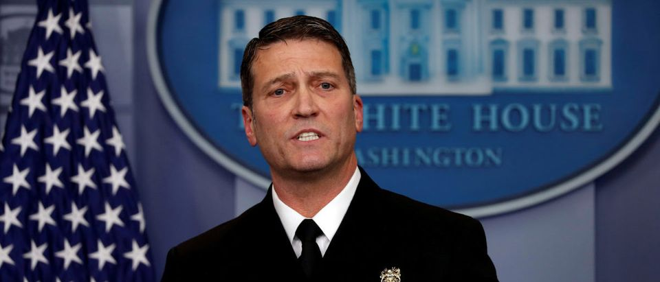 FILE PHOTO: White House, Presidential physician Ronny Jackson answers question about U.S. President Donald Trump's health after the president's annual physical at the White House in Washington