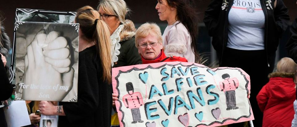Alfie Evans, who is 22 months old, has a rare degenerative neurological condition which has not been definitively diagnosed. His parents, Tom Evans and Kate James, have fought a legal battle to stop the Alder Hey Children's Hospital in Liverpool, northwest England, from turning off his ventilator -- which would quickly end his life. Doctors at Alder Hey have said life-support treatment should stop because further treatment was futile. This was accepted by Britain's High Court and upheld in the Court of Appeal and then in the Supreme Court -- the ultimate court in Britain. / AFP PHOTO / Paul ELLIS (PAUL ELLIS/AFP/Getty Images) | Alfie Evans' Parents Lose The Battle