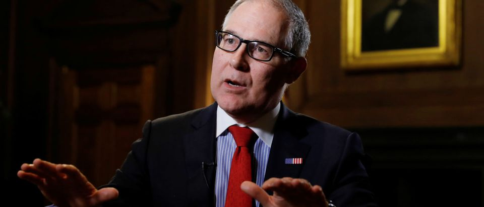 Environmental Protection Agency Administrator Scott Pruitt speaks during an interview with Reuters journalists in Washington, U.S., January 9, 2018. REUTERS/Kevin Lamarque