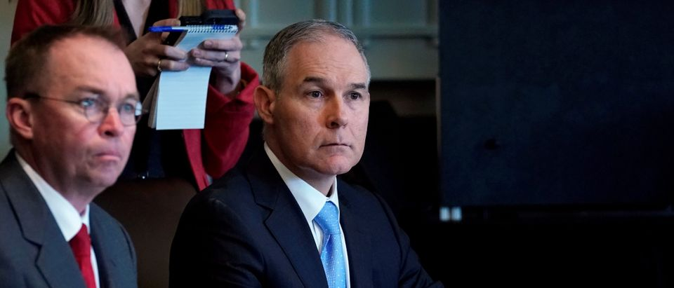 U.S. Environmental Protection Agency administrator Scott Pruitt listens as U.S. President Donald Trump holds a cabinet meeting at the White House in Washington, U.S., April 9, 2018. REUTERS/Kevin Lamarque |Media Ignored These Obama EPA Scandals