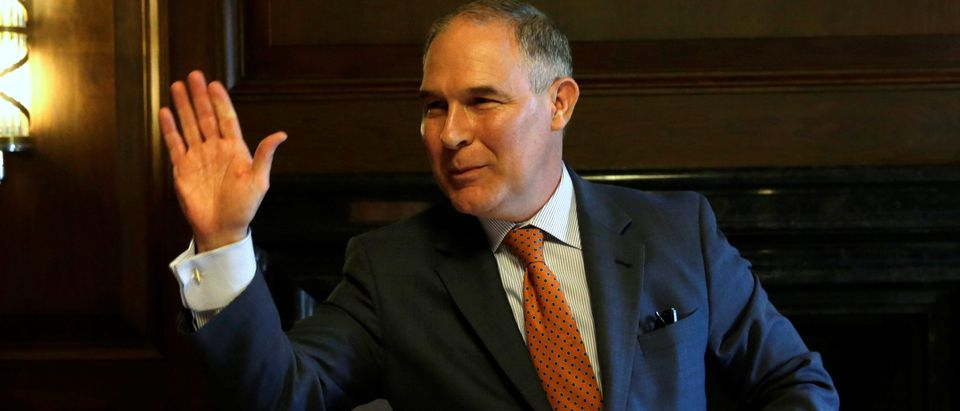 Environmental Protection Agency Administrator Scott Pruitt waves after an interview for Reuters at his office in Washington, U.S., July 10, 2017. REUTERS/Yuri Gripas | Pruitt Fighting Obama EPA Tactics