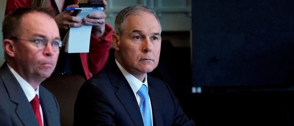 Pruitt listens as Trump holds a cabinet meeting at the White House in Washington