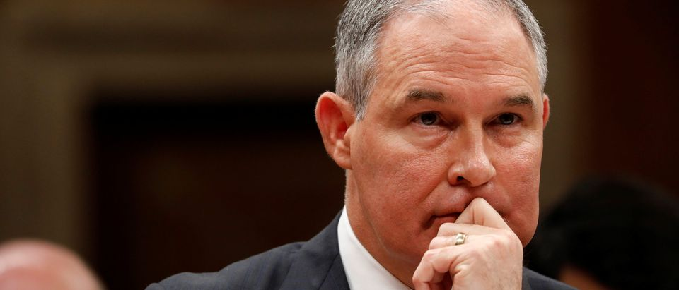 Environmental Protection Agency Administrator Scott Pruitt testifies before a Senate Appropriations Subcommittee on Capitol Hill in Washington
