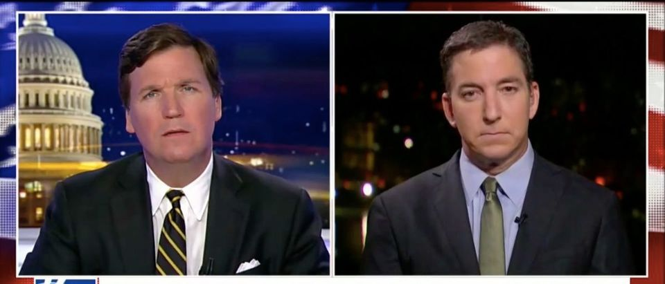 Screen Shot Tucker Carlson and Glenn Greenwald (Fox News: April 10, 2018)
