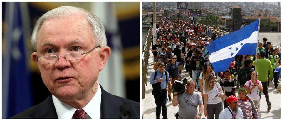 Sessions Caravan Left: REUTERS/Yuri Gripas/File Photo Right: REUTERS/Jorge Duenes