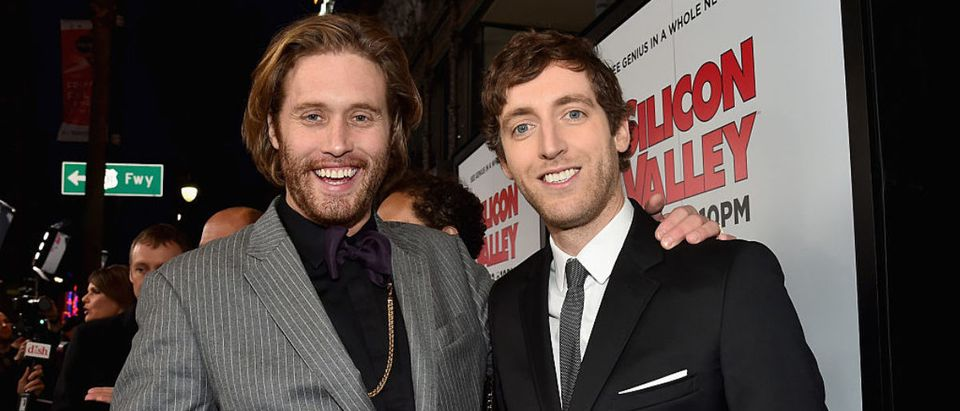 HOLLYWOOD, CA - APRIL 02: Actors T.J. Miller and Thomas Middleditch attend the premiere of HBO's 'Silicon Valley' 2nd Season at the El Capitan Theatre on April 2, 2015 in Hollywood, California. (Photo by Alberto E. Rodriguez/Getty Images)