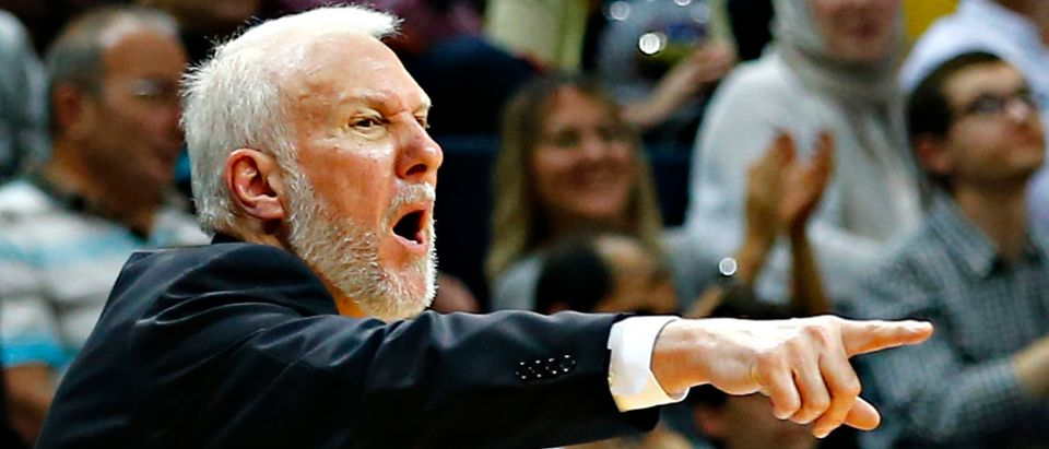 San Antonio Spurs' coach Gregg Popovich reacts during their NBA Global Games Istanbul 2014 basketball game against Fenerbahce at Ulker Sports Arena in Istanbul October 11, 2014. REUTERS/Murad Sezer