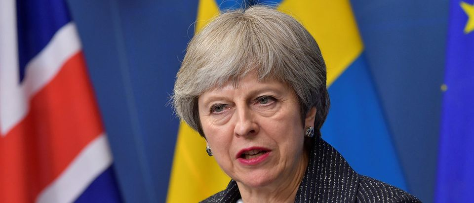 Britain's PM May speaks during a joint news conference at Rosenbad, Stockholm