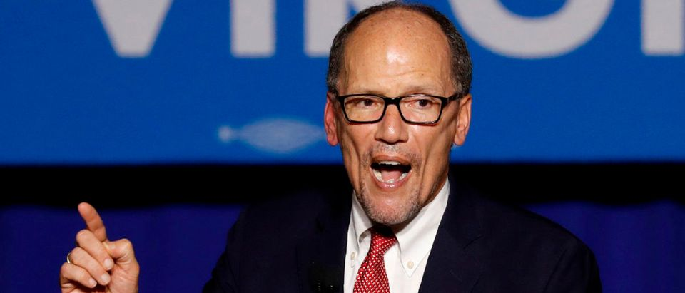 Democratic National Committee Chairman Perez speaks at Northam's election night rally in Fairfax