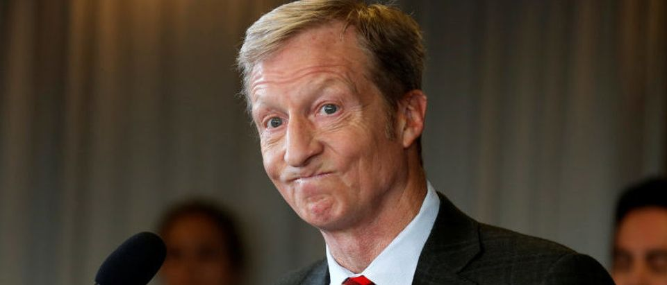 Tom Steyer, a hedge fund manager and a prominent Democratic fundraiser who has mounted a high-profile advertising campaign advocating the impeachment of President Donald Trump, holds a news conference to announce plans for his political future, in Washington, January 8, 2018. REUTERS/Joshua Roberts