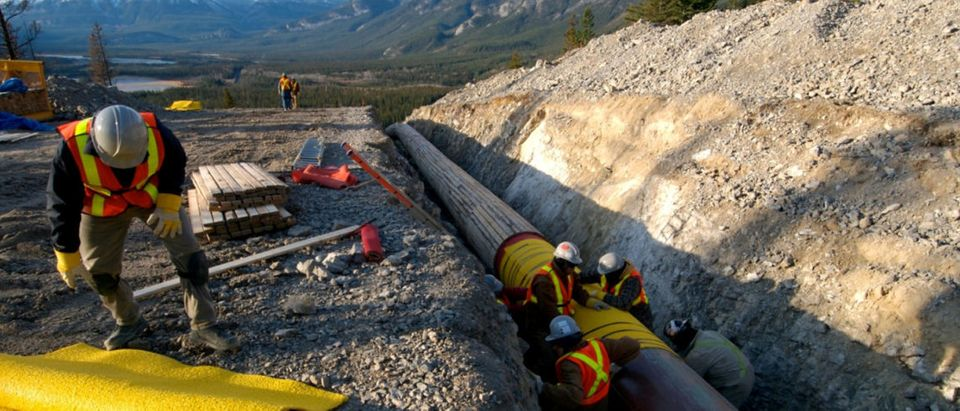 FILE PHOTO: Workers construct the Anchor Loop section of Kinder Morgan's Trans Mountain pipeline expansion in Jasper National Park in a 2009 file photo. Kinder Morgan Canada/Handout/File Photo via REUTERS | Major Pipeline Halted Amid Protests