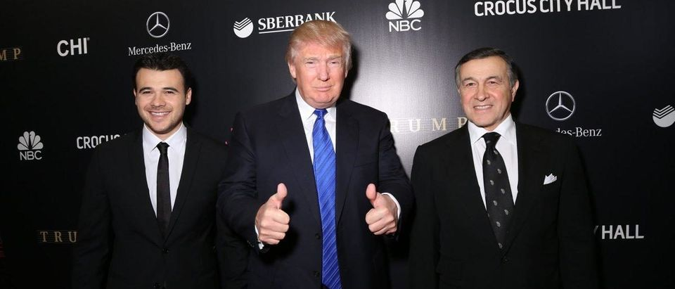 Donald Trump with Emin Agalarov (left) and Aras Agalarov (right), at 2013 Miss Universe pageant in Moscow. (VICTOR BOYKO/GETTY IMAGES)