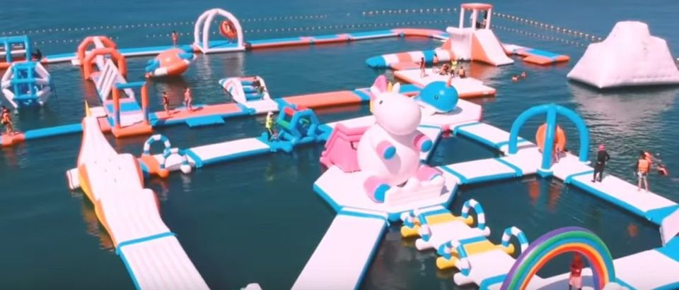 You can now go to a unicorn theme park. (Photo: Inflatable Island/ YouTube)