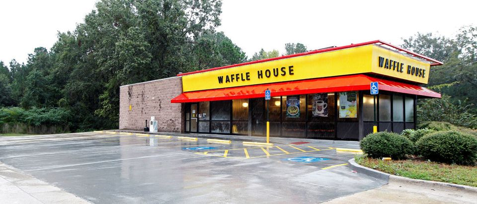 A closed Waffle House restaurant with a deserted parking lot is seen in Savannah, Georgia, U.S., October 7, 2016. The Waffle House Index is an informal way for Federal Emergency Management Agency (FEMA) to determine which areas are deemed to have more disastrous results and require recovery after a storm as all Waffle Houses stay open 24 hours, 365 days a year. REUTERS/Tami Chappell | Nude Gunman Kills Three At Waffle House