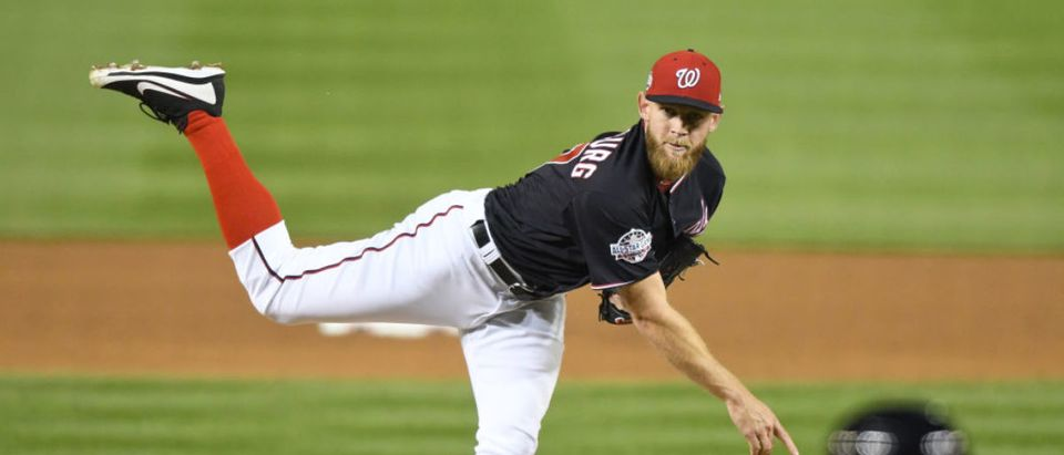 WASHINGTON, DC - APRIL 10: Stephen Strasburg #37 of the Washington Nationals pitches in the fifth inning during a baseball game against the Atlanta Braves at Nationals Park on April 10, 2018 in Washington, DC. (Photo by Mitchell Layton/Getty Images)