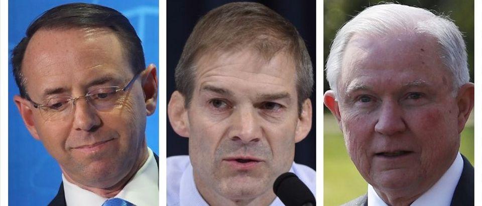 Rod Rosenstein, Jim Jordan, Jeff Sessions (Getty Images)