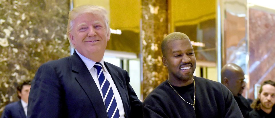 Singer Kanye West and President-elect Donald Trump speak with the press after their meetings at Trump Tower December 13, 2016 in New York. / AFP PHOTO / TIMOTHY A. CLARY (Photo credit should read TIMOTHY A. CLARY/AFP/Getty Images)
