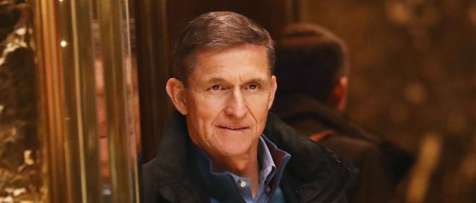 General Mike Flynn, Donald Trump's new national security adviser, arrives at Trump Tower on November 29, 2016 in New York City. (Photo by Spencer Platt/Getty Images)