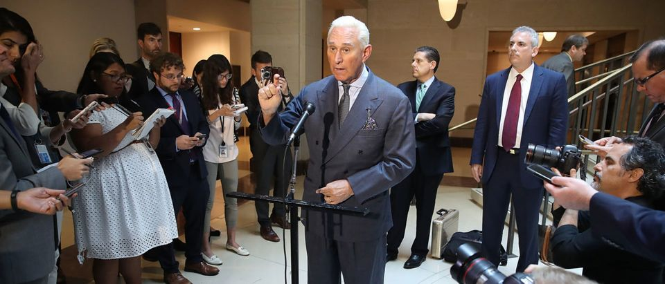 Roger Stone, former confidant to President Trump speaks to the media after appearing before the House Intelligence Committee during a closed door hearing, Sept. 26, 2017 in Washington, D.C.(Photo by Mark Wilson/Getty Images)