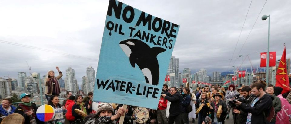 FILE PHOTO: A protester dances with a sign during a march against the proposed expansion of Kinder Morgan's Trans Mountain Pipeline, on the Cambie Street bridge in Vancouver, British Columbia, Canada November 19, 2016.   Trudeau Dinged For Pipeline Purchase