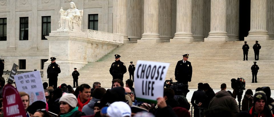 The annual March for Life concludes at the U.S. Supreme Court where it is met by pro-choice counter-protesters in Washington January 27, 2017. REUTERS/James Lawler Duggan
