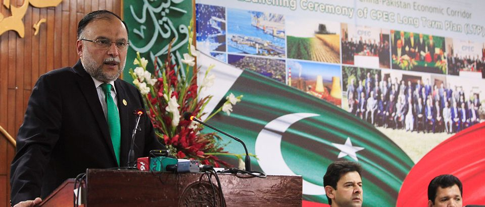 Ahsan Iqbal, Pakistan's Minister of Planning and Development, speaks during the launch ceremony of the CPEC long-term cooperation plan in Islamabad