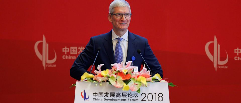 Apple Inc's CEO Tim Cook speaks at the China Development Forum in Beijing