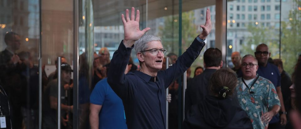 CHICAGO, IL - OCTOBER 20: Apple CEO Tim Cook greets guests at the grand opening of Apple's Chicago flagship store on Michigan Avenue October 20, 2017 in Chicago, Illinois. The glass-sided store sits on shore of the Chicago River in the city's downtown. (Photo by Scott Olson/Getty Images)