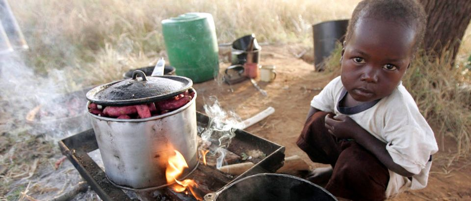 Timothy, son of evicted farm worker Tsoka, waits in front of an improvised kitchen on the side of the road outside Mvurwi village