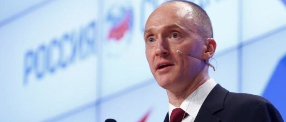 One-time adviser of U.S. president-elect Donald Trump Carter Page addresses the audience during a presentation in Moscow, Russia, Dec. 12, 2016. REUTERS/Sergei Karpukhin