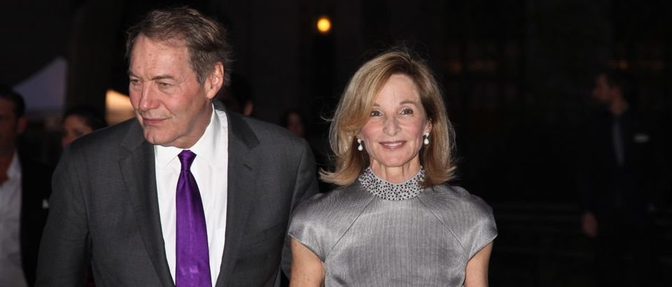 Charlie Rose and NYC City Planning Commissioner and Trustee Amanda Burden attend Vanity Fair Party in 2013 --ShutterStock Miro Vrlik