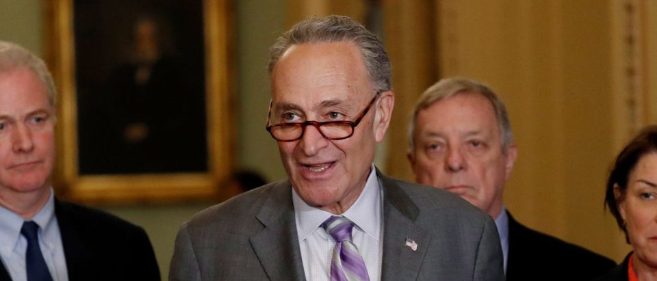 Senate Minority Leader Chuck Schumer (D-NY) speaks to members of the media with other Democrats during a news conference at the U.S. Capitol in Washington, U.S., May 22, 2018. REUTERS/Leah Millis
