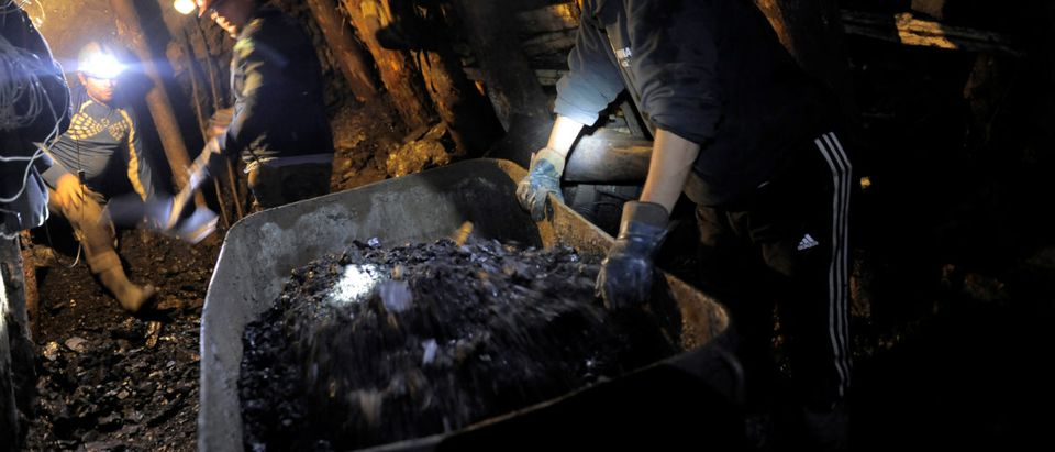"""Coalminers fill a cart inside an old artisanal coal mine so called """"Pique"""" in Curanilahue"""