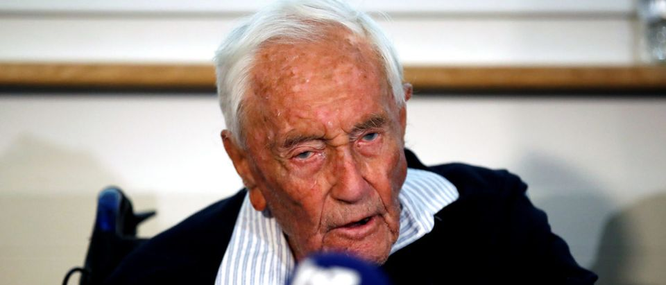 David Goodall, 104, holds a news conference a day before he intends to take his own life in assisted suicide, in Basel, Switzerland May 9, 2018. REUTERS/Stefan Wermuth | Scientist To Kill Self At Suicide Clinic