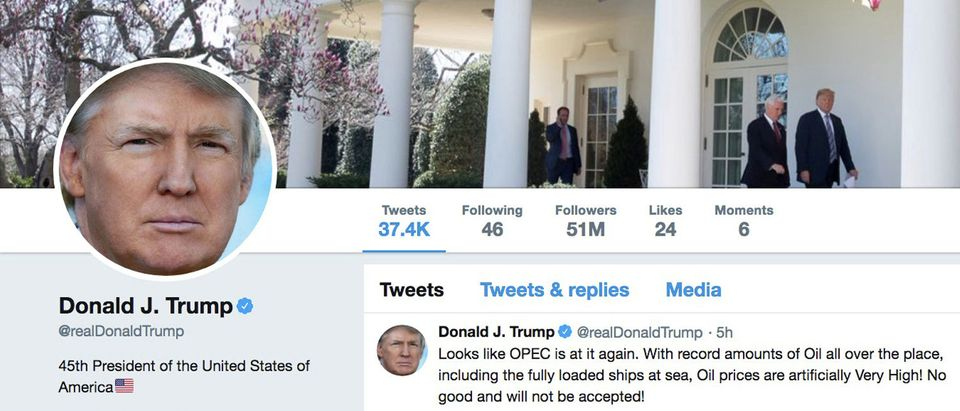 The masthead of U.S. President Donald Trump's @realDonaldTrump Twitter account with a message about OPEC policy is seen on April 20, 2018. @realDonaldTrump/Handout via REUTERS