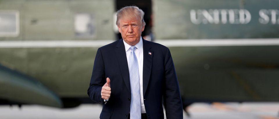 U.S. President Donald Trump departs Los Angeles, California