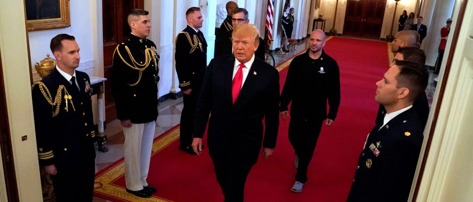 Trump arrives for a Wounded Warrior event at the White House in Washington