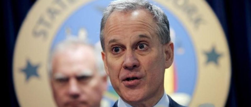 FILE PHOTO: New York Attorney General Eric Schneiderman speaks at a news conference to announce a state-based effort to combat climate change in New York, New York, U.S. March 29, 2016. REUTERS/Mike Segar/File Photo | The Other Eric Schneiderman Scandal