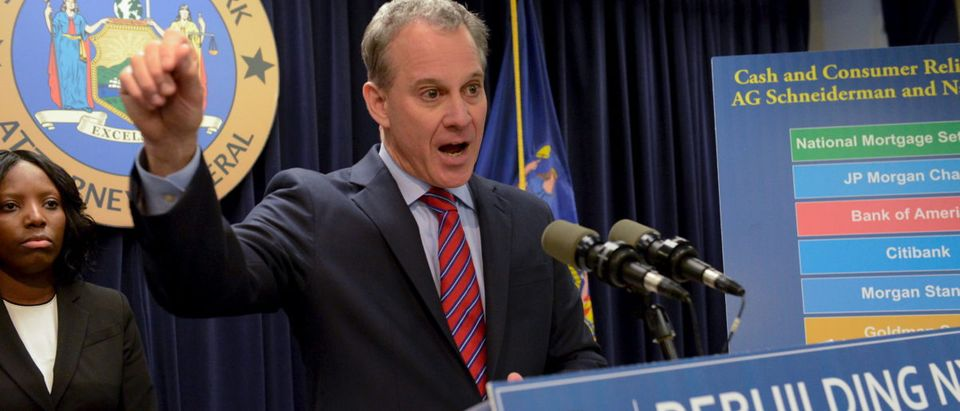 Attorney General Eric Schneiderman speaks at a news conference in the Manhattan borough in New York, April 11, 2016. Goldman Sachs Group Inc has agreed to pay $5.06 billion to settle claims that it misled mortgage bond investors during the financial crisis, the U.S. Department of Justice said on Monday. REUTERS/Stephanie Keith