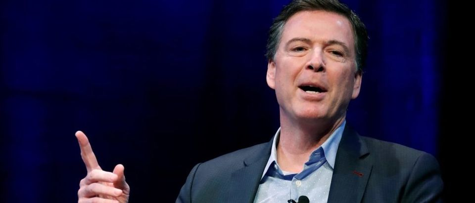 Comey speaks about his book during an onstage interview at George Washington University in Washington