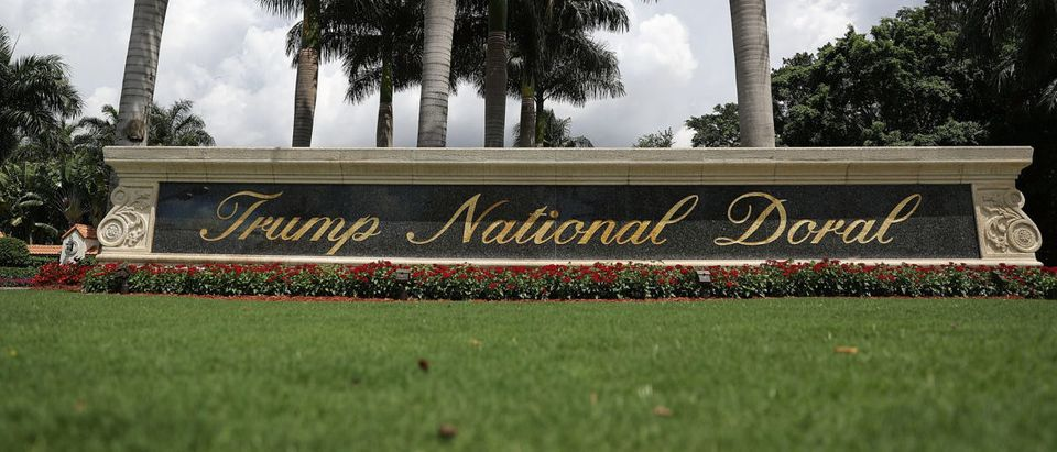 A sign reading Trump National Doral is seen on the grounds of the golf course owned by Republican presidential candidate Donald Trump on June 1, 2016 in Doral, Florida. (Photo by Joe Raedle/Getty Images)