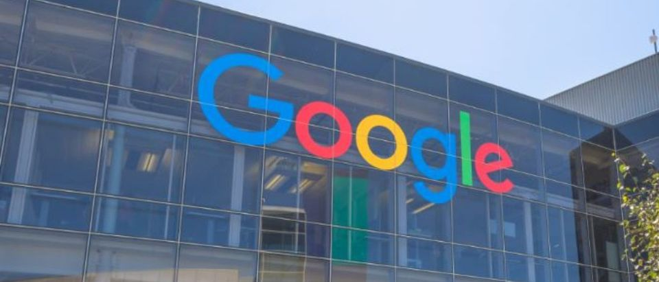 Mountain View, California, USA - August 15, 2016: Google sign on one of the Google buildings. Google is an American multinational corporation specializing in Internet services and products. (Benny Marty/Shutterstock)