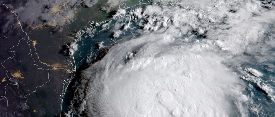Hurricane Harvey is seen in the Texas Gulf Coast in this NOAA GOES satellite image