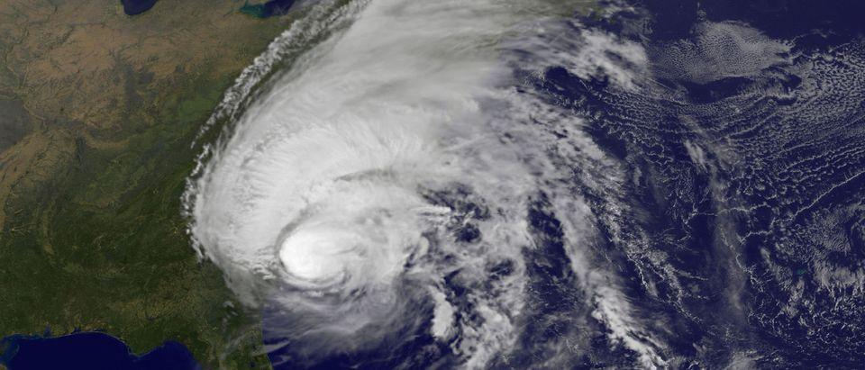 FILE PHOTO - Hurricane Matthew is pictured along the southeastern U.S. coast by NASA's NOAA's GOES-East satellite