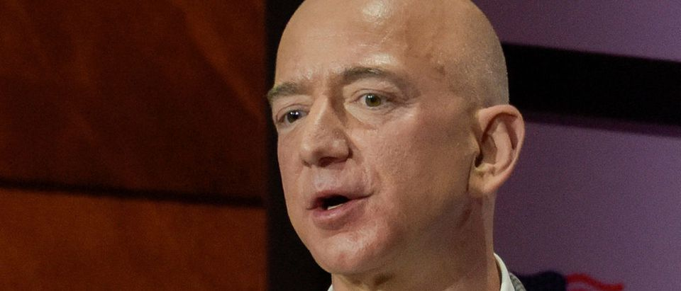 Jeff Bezos, Chairman and CEO of Amazon, speaks at the George W. Bush Presidential Center's Forum on Leadership in Dallas, Texas, U.S., April 20, 2018. Picture taken on April 20, 2018. REUTERS/Rex Curry | SPLC Polices Amazon, Anti-Semites Remain