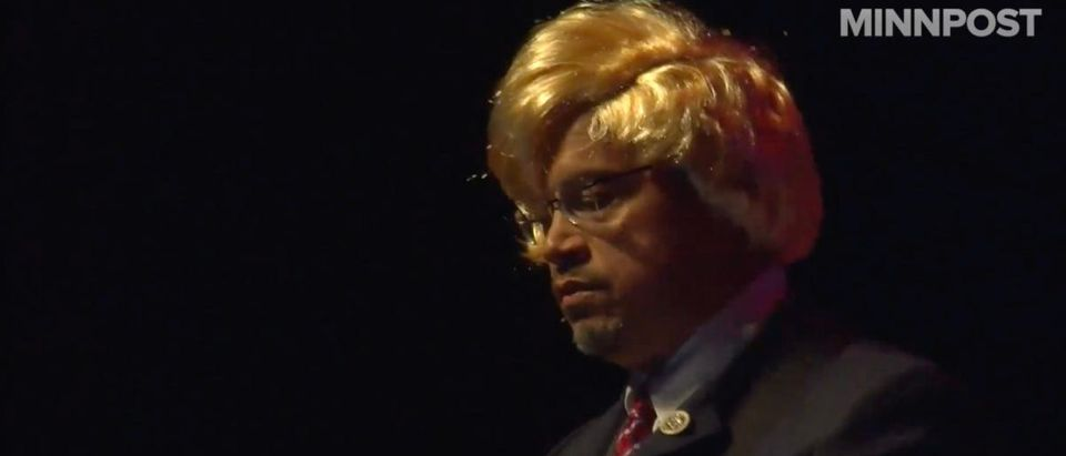 Democratic Rep. Keith Ellison of Minnesota wore a blonde wig while singing a song about President Donald Trump on Friday. (Photo: Video screenshot/Facebook/MinnPost)