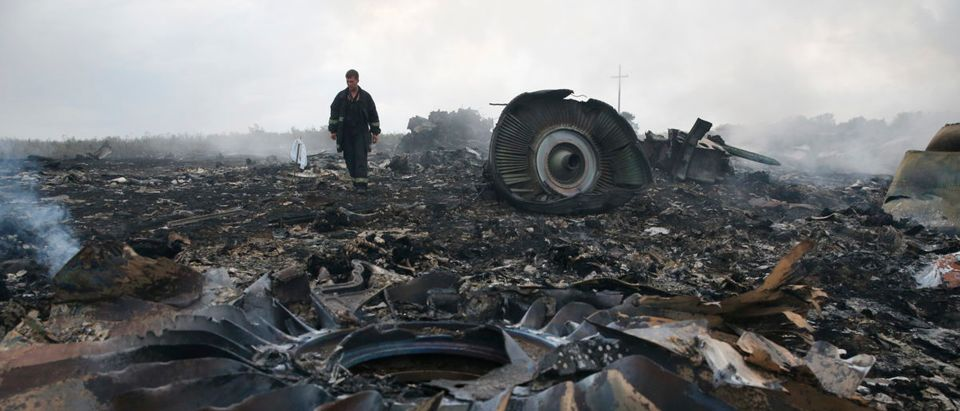 Emergencies Ministry member walks at a site of a Malaysia Airlines Boeing 777 plane crash near the settlement of Grabovo in the Donetsk region