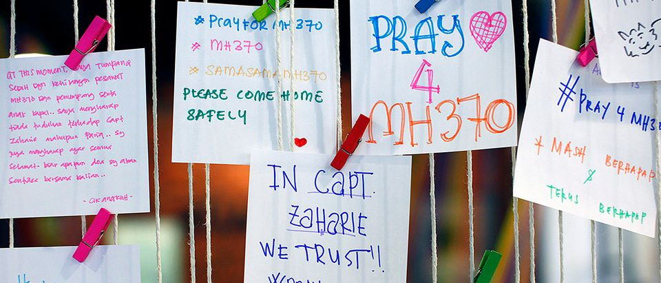 A message for pilot Zaharie, captain of the missing Malaysia Airlines Flight MH370, is pictured at an event in Subang Jaya
