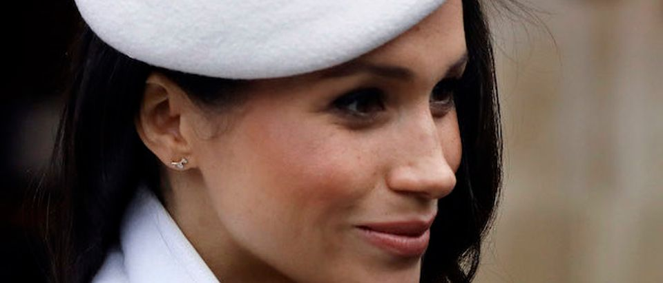 Meghan Markle leaves after attending the Commonwealth Service at Westminster Abbey on March 12, 2018 in London, England. Organised by The Royal Commonwealth Society, the Commonwealth Service is the largest annual inter-faith gathering in the United Kingdom. (Photo by Kirsty Wigglesworth - Pool/Getty Images)